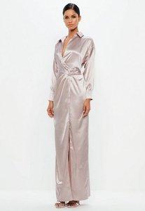 Read more about Mauve satin maxi dress purple