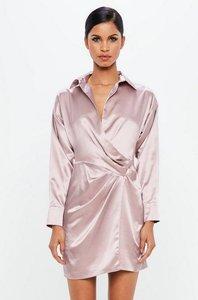 Read more about Mauve satin wrap mini dress purple