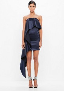 Read more about Navy bonded ruffle satin dress blue