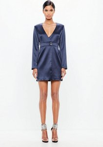 Read more about Navy bonded satin wrap mini dress blue