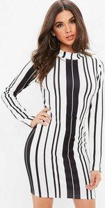 Read more about White striped asymmetric hem dress multi