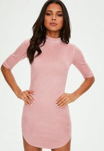 Read more about Pink high neck bonded faux suede dress pink