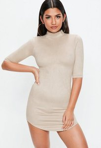 Read more about Nude high neck bonded suede mini dress grey
