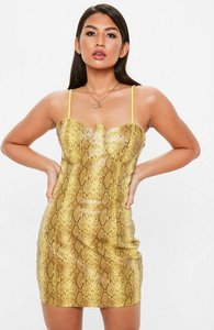 Read more about Yellow faux leather snake print bodycon dress yellow