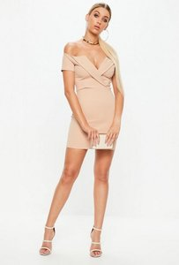 Read more about Nude fold over short sleeve bardot dress beige