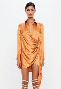 Read more about Orange textured satin wrap dress orange