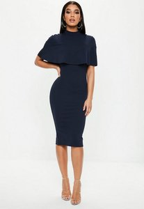 Read more about Navy frill overlay high neck midi dress blue