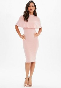 Read more about Pink frill overlay midi dress pink