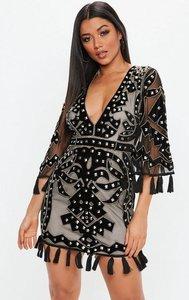 Read more about Black premium plunge kimono stud embellished mini dress black