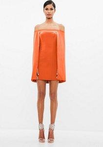 Read more about Orange bardot cape mini dress orange