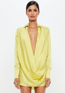 Read more about Chartreuse yellow satin cowl mini dress green