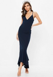 Read more about Navy plunge split fishtail maxi dress blue