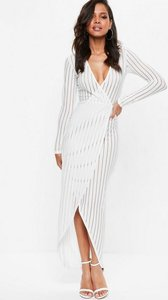 Read more about White ribbed wrap over mesh maxi dress white