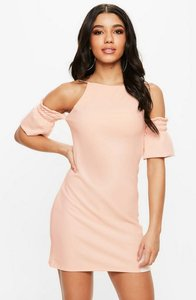 Read more about Pink cold shoulder square neck dress beige