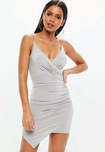 missguided slinky wrap detail bodycon cami dress ice grey - Shop ... 7877bc0f8