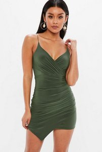 Read more about Khaki strappy slinky wrap bodycon dress beige