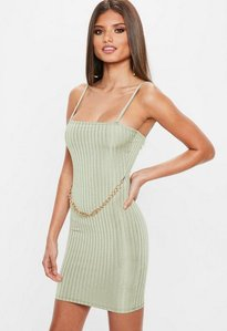 Read more about Green ribbed chain front mini dress gold