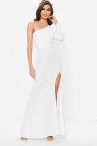 Read more about White one shoulder long sleeve split maxi dress white