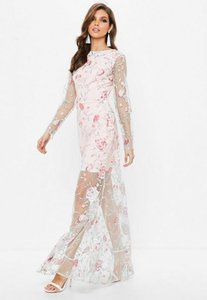 Read more about Nude embroidered lace long sleeve maxi dress beige