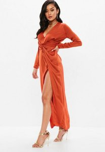 Read more about Orange wrap front maxi dress brown