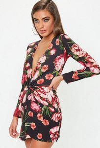 Read more about Floral printed knot front shift dress multi