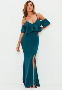 Read more about Teal strappy frill fishtail maxi dress blue