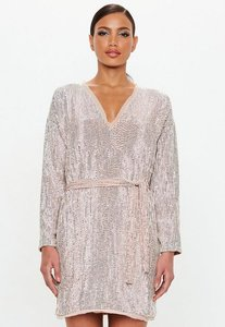 Read more about Nude embellished belted mini dress grey