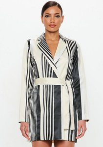 Read more about Silver metallic belted stripe dress grey