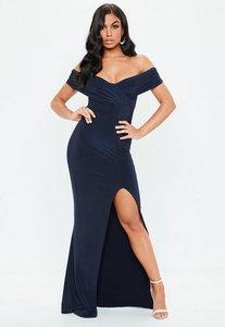 Read more about Navy bardot wrap slit slinky maxi dress blue