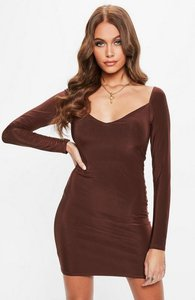 Read more about Brown soft touch slinky neck mini dress brown