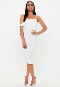 Read more about Cream bandeau tie detail asymmetric midi dress white