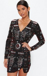 Read more about Black premium plunge wrap embellished bodycon dress black