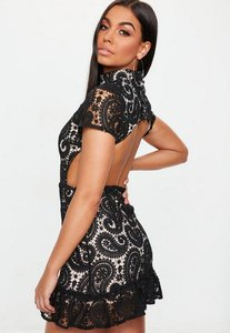 Read more about Black high neck paisley lace flippy hem dress black