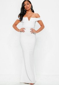 Read more about White bardot plunge maxi dress white