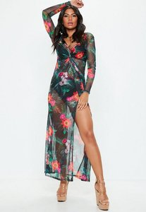 Read more about Black floral thigh split sheer mesh maxi dress black