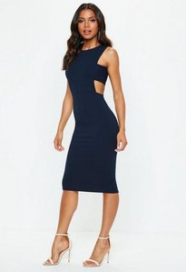 Read more about Navy sleeveless cut out side midi dress blue