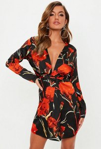 Read more about Black silky plunge wrap shift dress multi