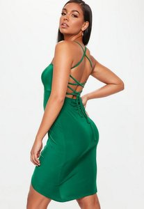 Read more about Green slinky strappy tie back thigh split dress green