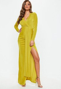 Read more about Chartreuse slinky cut out maxi dress yellow