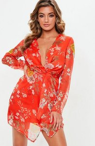 Read more about Red floral twist front dress multi