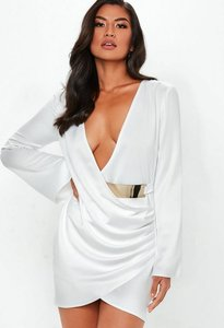 Read more about White floaty sleeve belted satin drape dress white