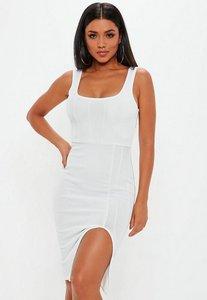 Read more about White ribbed bandage square neck midi dress white