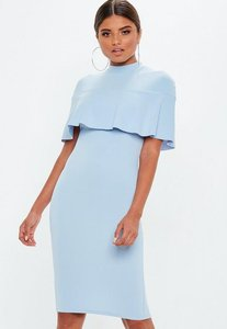 Read more about Powder blue frill overlay shoulder midi dress blue