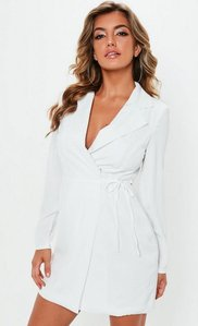 Read more about White cut out back tie blazer dress white