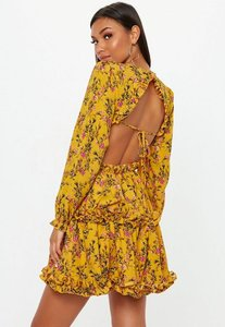 Read more about Mustard floral open back skater dress multi
