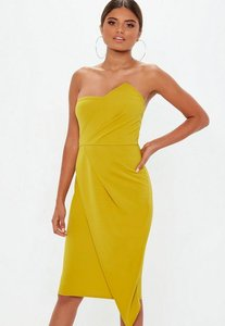 Read more about Chartreuse bandeau origami midi dress yellow