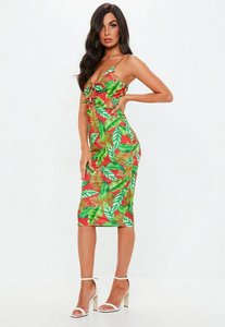 Read more about Green tropical strappy tie front midi dress multi