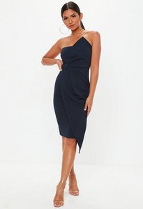 Read more about Navy bandeau origami midi dress blue