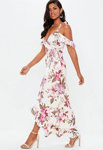 Read more about Purple floral frill wrap maxi dress multi