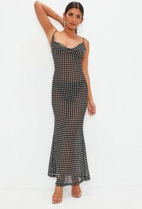 Read more about Black polka dot strappy cowl maxi dress multi